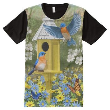 Bluebirds and Yellow Birdhouse All-Over Print T-shirt