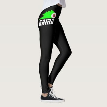 grind skateboarding womens leggings black pin logo
