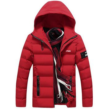 FILA 2018 winter trend men's warm hooded jacket cotton clothes Red