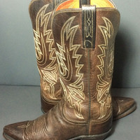Lucchese 1883 Brown Leather Western Cowgirl Cowboy Boots Women's Size 7