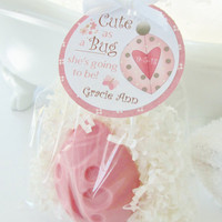 15 CUTE AS A BUG Pink Girl Baby Shower Soap Favor Pack - ladybug, personalized, party, custom gift tag, scented, baby girl, gift wrapped