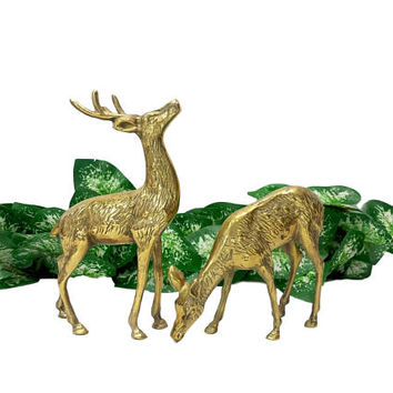 Brass Deer Pair Spotted Buck Doe Vintage Woodland Animal Figurines Antlers Mantle Home Office Bookshelf Decor Matching Set Statuettes