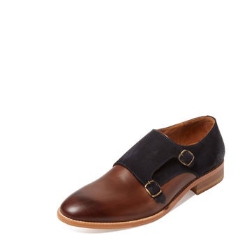 Modern Fiction Men's Leather & Suede Double Monkstrap - Brown -