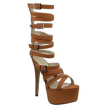 Womens Platform Sandals Gladiator Strappy Buckle High Heel Shoes Tan