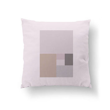 Pink Gray Rose, Rectangles Pillow, Home Decor, Cushion Cover, Simple Design, Textured Pastel, Throw Pillow, Decorative Pillow, Abstract Art