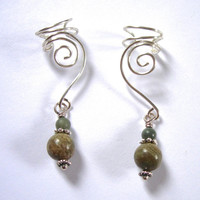 Earcuffs, Ear Wraps, Pair of Silver Ear Cuffs with Rainbow agate and Red Creek Jasper, non pierced Earring alternative