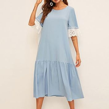 Pearl Beading Eyelet Embroidered Cuff Tiered Dress  Blue Half Sleeve Tunic Drop Waist Women Dresses