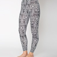 8328pdg - NeoMax Lined Monk Black and White Print Cotton Spandex Jersey Leggings