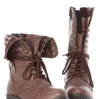 Brown Faux Leather Fold Over Plaid Print Chunky Combat Boots
