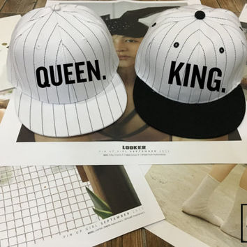 KING Queen Hat Set, Flat Bill SnapbackCap, Couples Hats, Honeymoon, King Queen snapback , Low-Profile Baseball Cap Baseball Hat