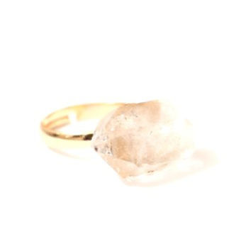 Clear Quartz Crystal Ring Adjustable Druzy Geode Rock Cocktail Statement RJ08 Fashion Jewelry