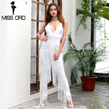 PEAP78W Missord 2017 Sexy Deep-V sleeveless backless sequin and tassel  jumpsuit FT4954-2