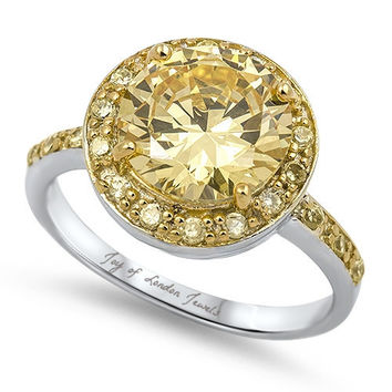 A Perfect 3.9CT Round Cut Halo Canary Yellow Russian Lab Diamond Ring
