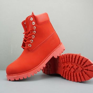 Timberland Leather Lace-Up Boot High Red - Best Deal Online