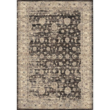 Eulah Brown Distressed Damask Pattern Power-Loomed Area Rug