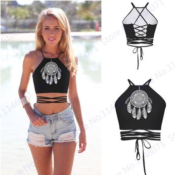 Dreamcatcher Surfing Swimming Crop Tops Feather Wind Chime Bustier Sexy Halter Beach Tanks Top Strap Cross Camis Womens Cutout