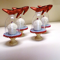 THE DORTHY!....(set of 4) Ruby Slipper mini cupcake stands