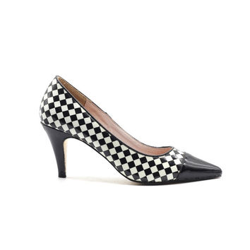 Black and White Checkered Pattern High Heels Shallow Pointed Toe