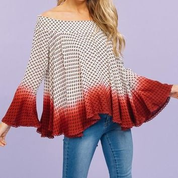 Off-Shoulder Dip-Dyed Top (Red)