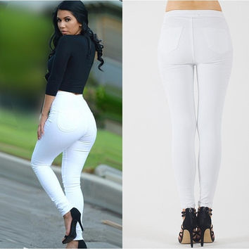 Women Fashion White Denim Jeans Pant Skiny Slim Tights & Leggings Trousers = 5708472833