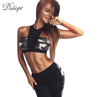 Didiopt Fitness Camouflage Print Tracksuit for Women Sportswear Crop Top and Women Pants 2 piece Yoga Set Women Activity Suit
