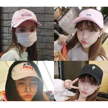 The embroidery South Korea fashion curved eaves baseball cap embroidered fish lovers casual hat cap Harajuku