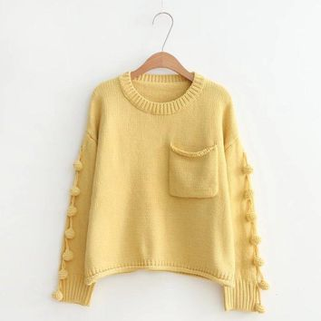 Casual Pocketed Tassel Knitted Sweater