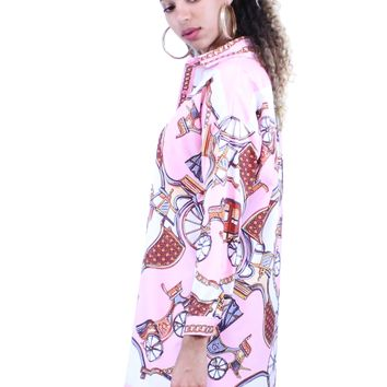 Pink Chain Print Long Sleeve Boyfriend Fit Shirt Dress