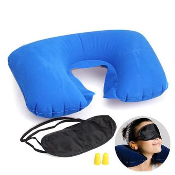 T2N2 Travel Essential Fashion Multifunction Inflatable Pillow Patch Earplug New