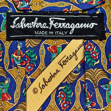 Make an Offer SALVATORE FERRAGAMO Navy Blue & Gold Baroque Musicians SILK Necktie Tie Like Hermes YsL Dior and Gucci Made in Italy