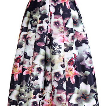 Floral Printed High-Waist Ruffled Skirt