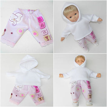 "bitty baby clothes, girl doll or 15"" twin, white polar fleece hoodie, lavender lace edged flannel pants,2pc, handmade"