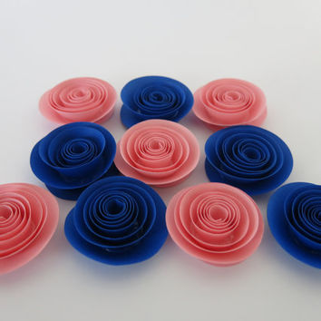 "Pink and Blue Gender Reveal baby shower flowers, set of 10, 1.5"" paper roses, boy or girl party theme, nursery wall decor, twin newborn art"