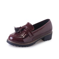 Tassel Square Heel Pattern Oxford Casual Office Lady Shoes