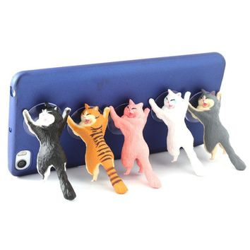 Cute Cat Mobile Phone Holder Stand With Suction Cups - 1pc