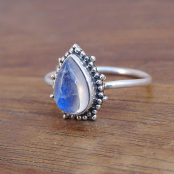 Blue Moonstone Ring 925 Sterling Silver Moonstone Ring Moonstone Gemstones Ring, Gift Ring Rainbow Moonstone Ring Size US 7 moon stone ring