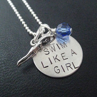 SWIM Like a GIRL with Birthstone Crystal - Choose 16, 18 or 20 inch Sterling Silver Ball Chain - Swim Team Necklace - Swimmer Girl Necklace
