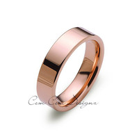 6mm,New,Unique,High Polish Rose Gold,,Rose,Tungsten Rings,Wedding Band