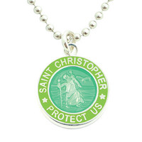 Get Back Supply Co — Small Silver-plated St. Christopher Medals (Seagreen-Lime)