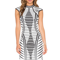 Lumier Law of Attraction Placemint Print Bodycon Dress in White & Black