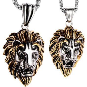 Couple necklace stainless steel lion pendants W chain gold silver valentines day gifts for him her lovers jewelry dropship GN06