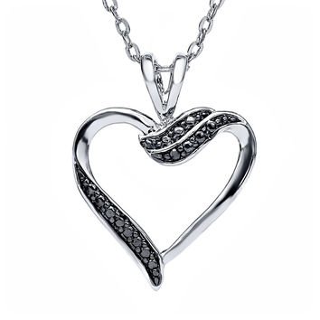 "Black Diamond Accent Heart Shape Pendant Necklace, 16"" Chain with Spring Ring"