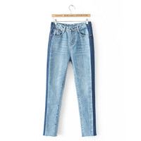 NELLBANG Vintage washed high waist skinny denim pencil ankle-length pants 2017 new spring women jeans
