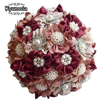 Kyunovia 3pc Set Satin Wedding Bouquet Burgundy Photograph Bridal Bouquet Artificial Wedding Flowers with Brooches Pearls FE84