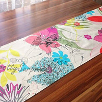 New!! Colorful Floral Table Runner, Retro Table Runner, Colorful Table Cover,Handmade Table Runner
