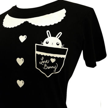Peter Pan Collar Shirt - Bunny Rabbit Pocket Tee Shirt - (Available in Ladies sizes S, M, L, XL)