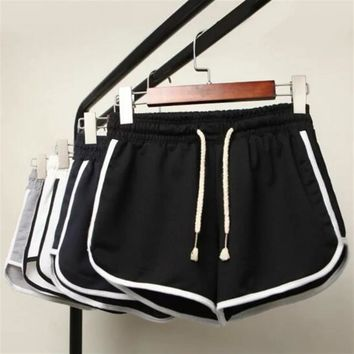 New Summer Shorts Women Casual Shorts Workout Waistband Skinny Short Simple Patchwork Elastic Skinny Slim Beach Egde Short Hot