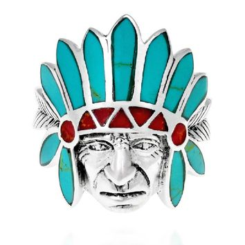 Tribal Native Indian Chief Head Coral-Turquoise Inlay .925 Silver Ring