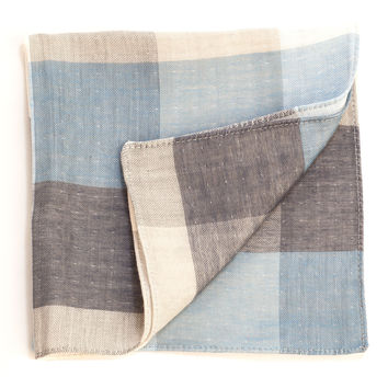 Burano-Cotton Check Double Face Pocket Square-Blue