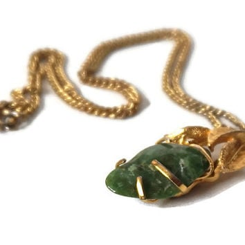 Vintage Necklace, Signed BSK Necklace, Green Earth Stone Pendant Necklace,Green Stone,St. Patrick's Day Jewelry,Green and Gold Tone Necklace